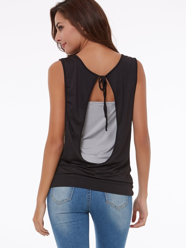 Stylish Heap Collar Slim Tank Top
