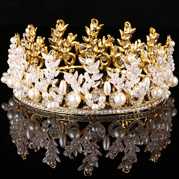 Charming Rhinestones and Pearls Wedding Tiara