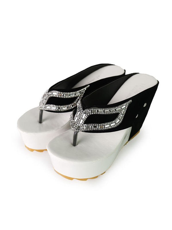 Contrast Color Rhinestone Wedge Sandals