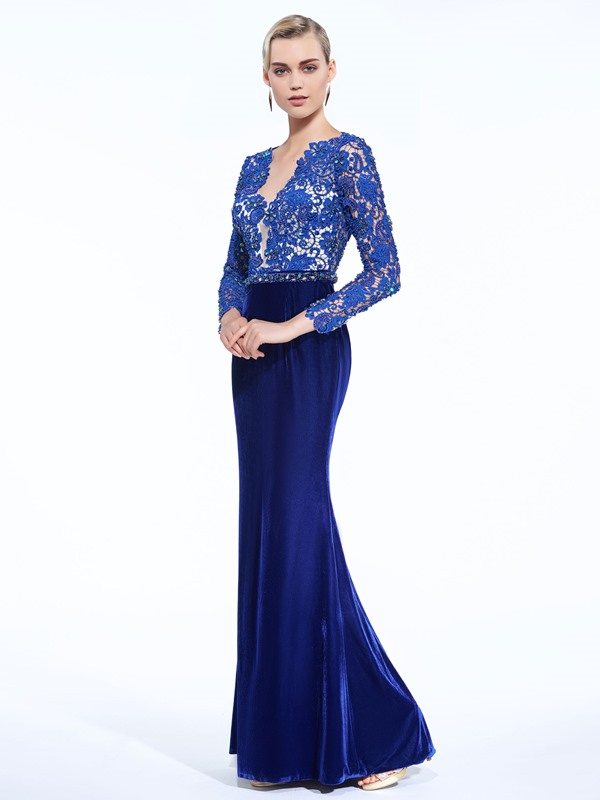 V-Neck Long Sleeves Velvet Beading Lace Evening Dress