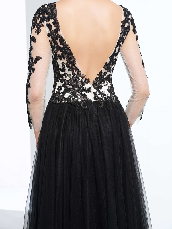 Vintage V-Neck 3/4 Length Sleeves Appliques Prom Dress