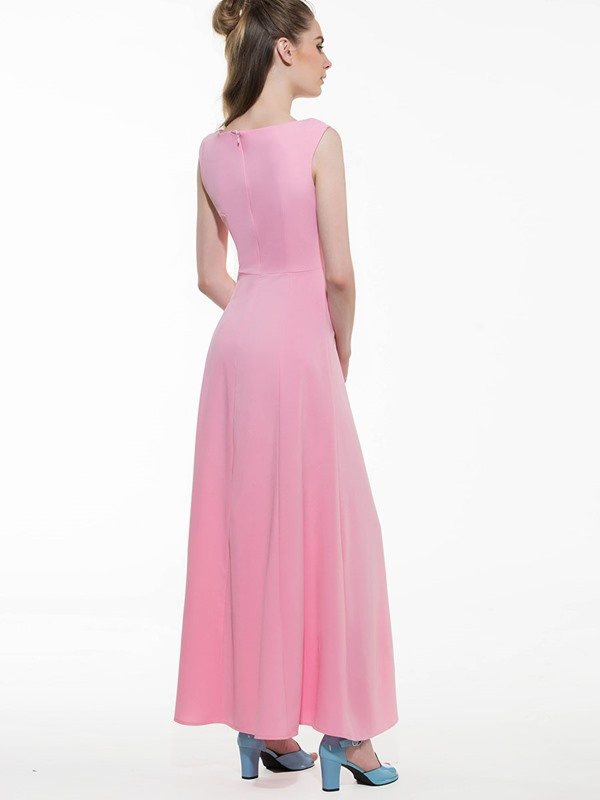 Solid Color Sleeveless Button Women's Maxi Dress