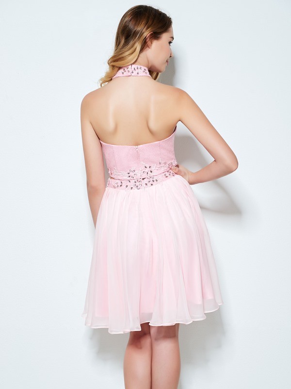Halter Appliques Beading Sequins Two Piece Homecoming Dress