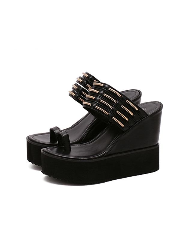 Black PU Ring-Toe Wedge Sandals