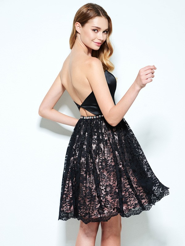 Cool Strapless Beading Black Lace Homecoming Dress