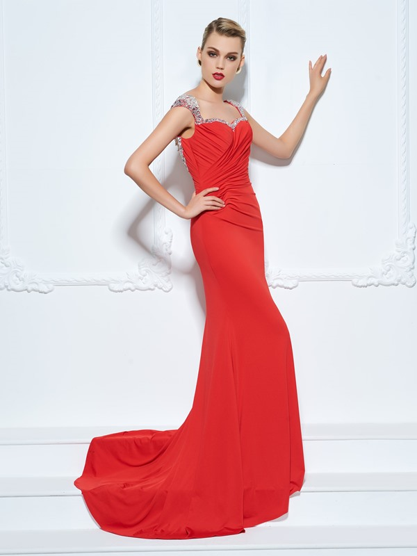 Straps Cap Sleeve Beading Sheath Red Evening Dress