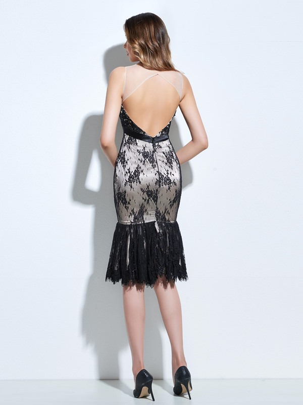 Sheer Neck Sheath Lace Cocktail Dress