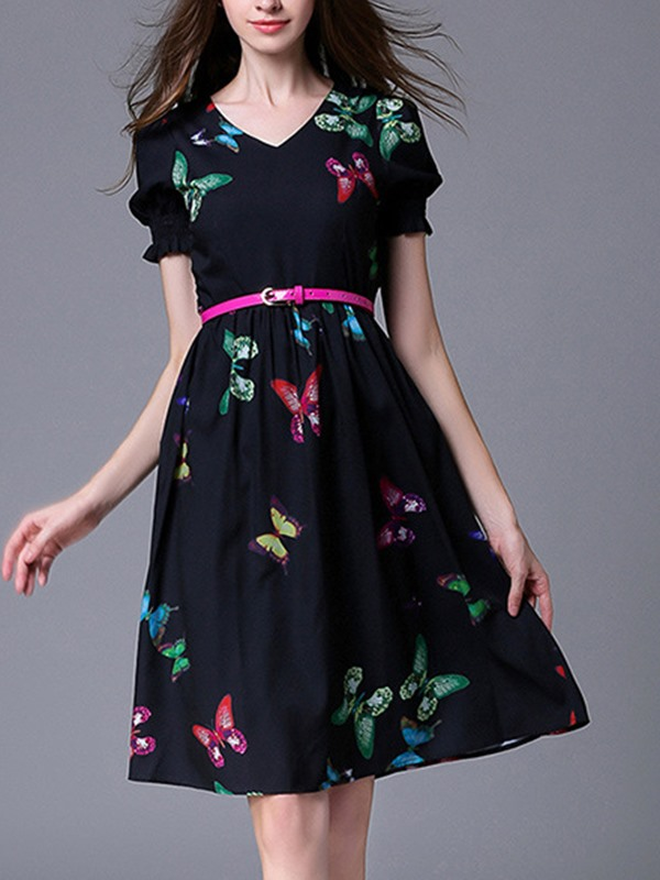 V-Neck Empire Waist Animal Day Dress