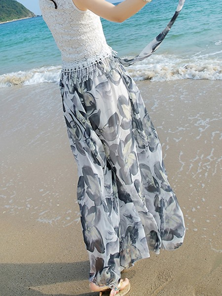 Floral Printing Mesh Pleated Pants