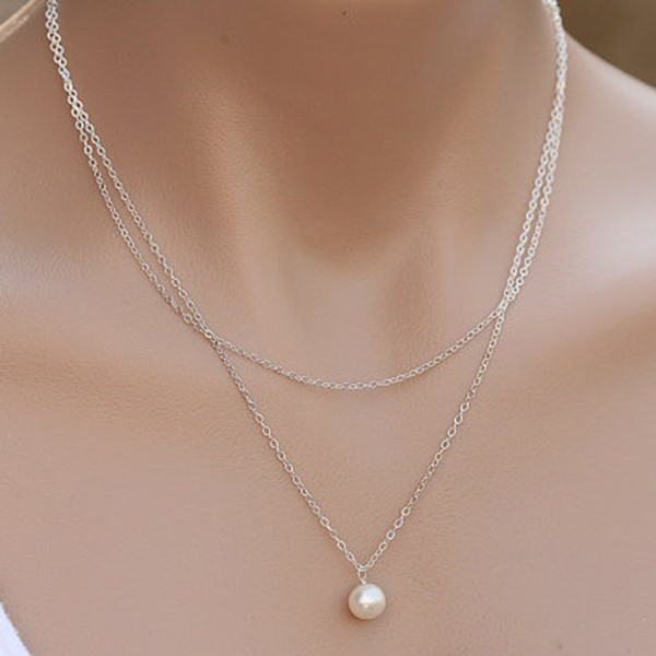 Pearl Pendant Two Color Chain Layered Necklace