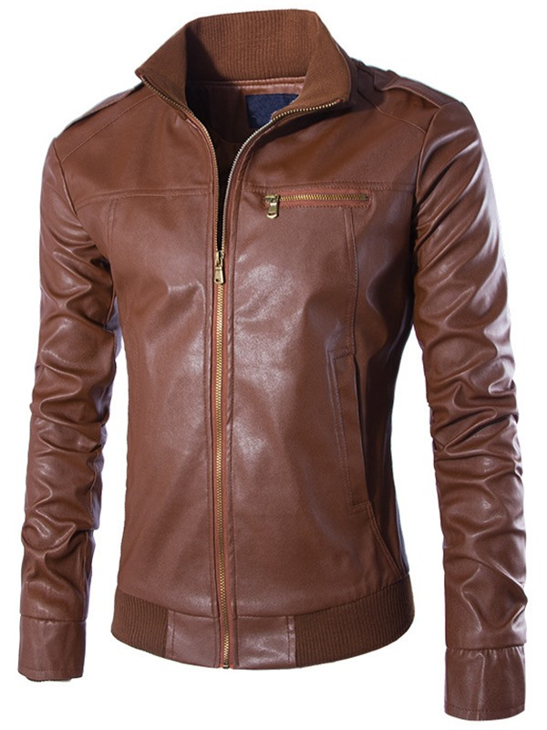 Zipper Stand Collar Men's Plain PU Jacket