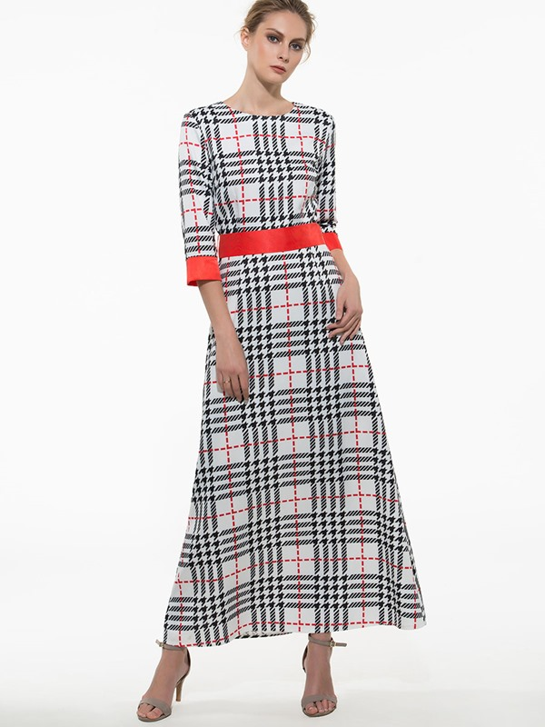 Plaid 3/4 Sleeve Maxi Dress