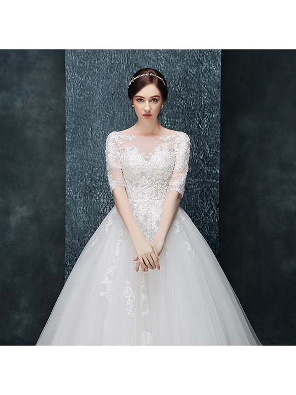Sheer Neck Appliques Ball Gown Wedding Dress with Half Sleeves