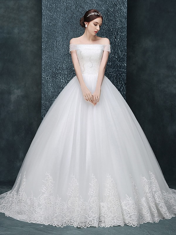 Delicate Off The Shoulder Beading Appliques Court Train Wedding Dress