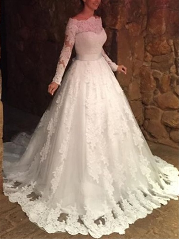 Off the Shoulder Long Sleeves Appliques Wedding Dress