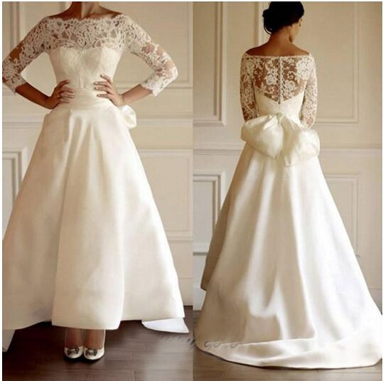 Lace Bowknot Ankle Length Beach Wedding Dress