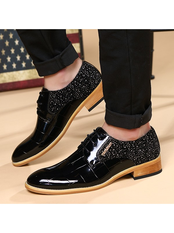 Rhinestone Embossed PU Square Heel Dress Shoes