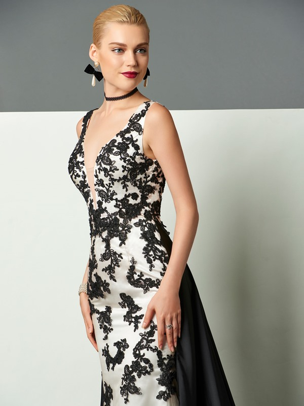 Gorgeous Sheath V-Neck Appliques Court Train Evening Dress