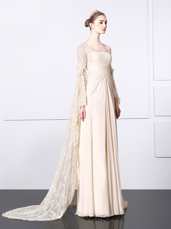 Long Sleeves Pleats Beading Lace Vintage Evening Dress
