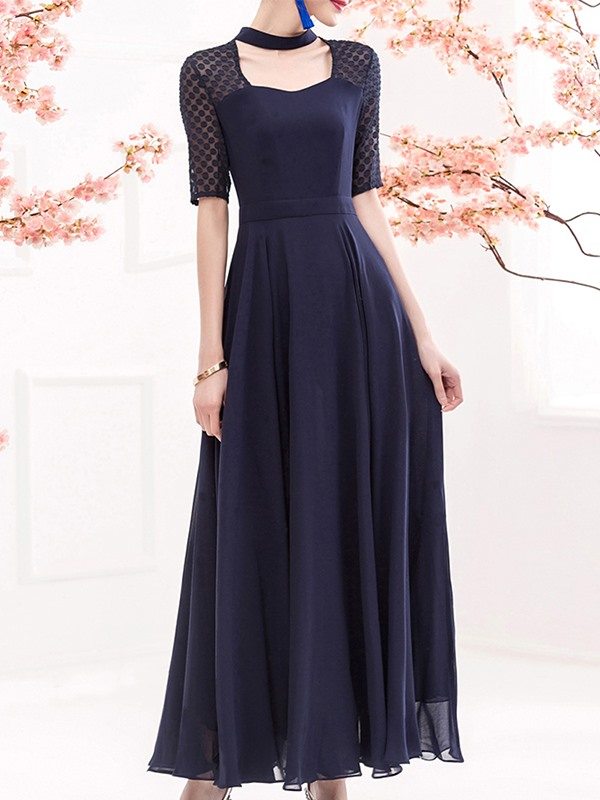 Chic U-Neck Half Sleeve Patchwork Women's Maxi Dress