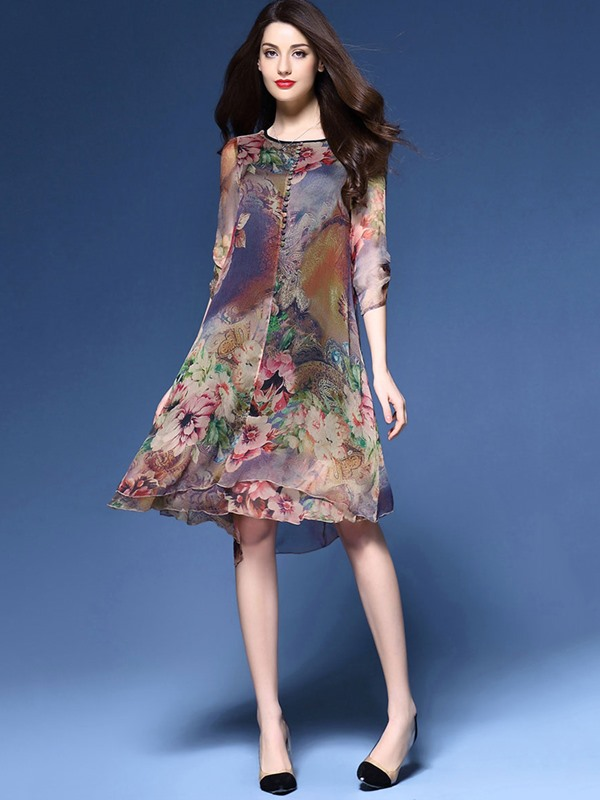 Floral Print Round Neck Vintage Women's Day Dress