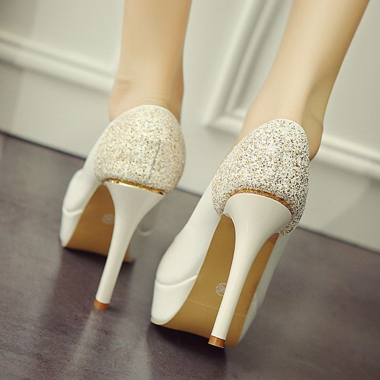 Sequins Peep-Toe Stiletto Heel Platform Pumps