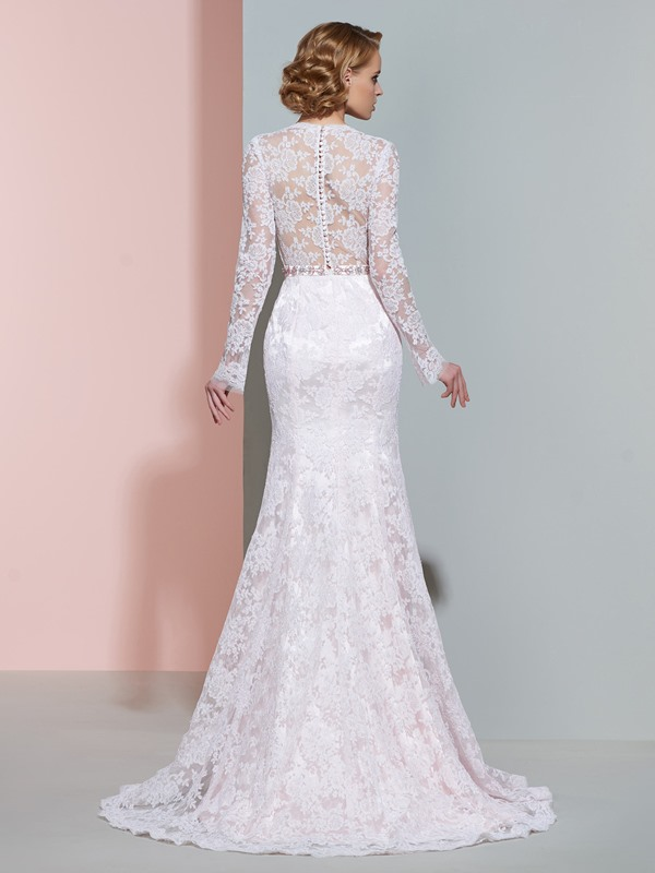 V Neck Beaded Lace Mermaid Wedding Dress With Sleeves