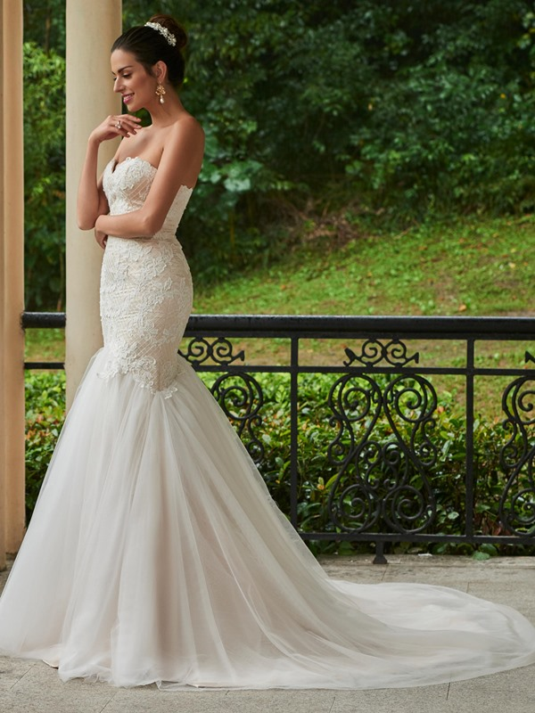 Beautiful Sweetheart Zipper-Up Appliques Mermaid Wedding Dress