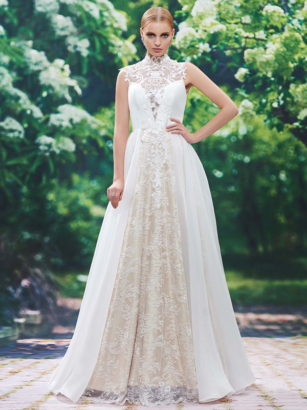 High Neck Button Lace Appliques A Line Long Wedding Dress