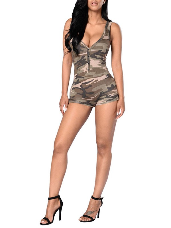 Camouflage Printed Zipper Gallus Rompers