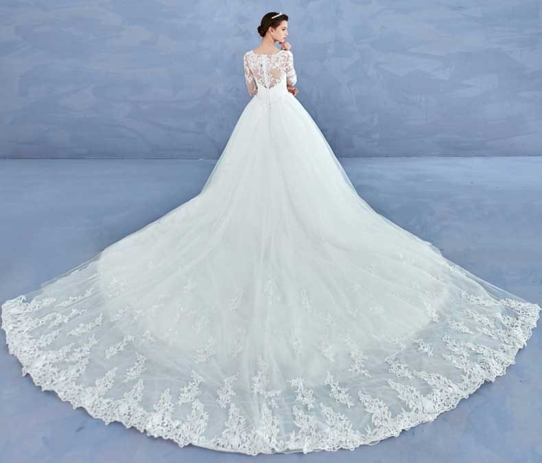 Long Sleeve Appliques Ball Gown Wedding Dress