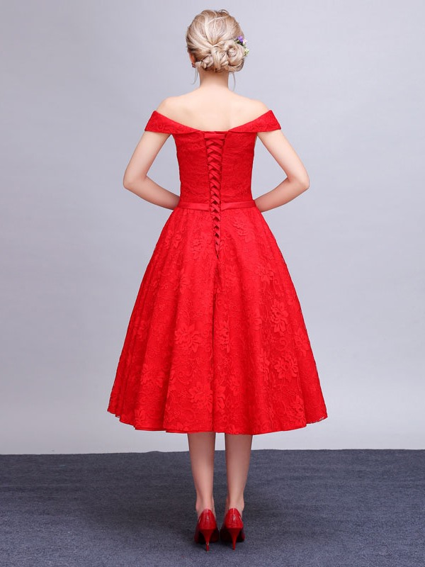 Off the Shoulder A-Line Tea-Length Lace Homecoming Dress