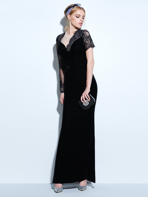 Vintage Sleeves Velvet Sheath Black Evening Dress