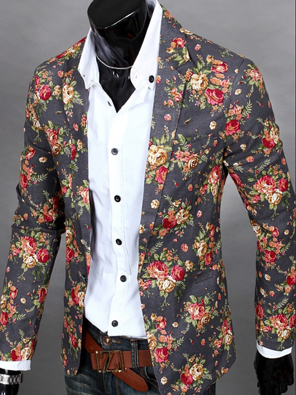 Tidebuy Floral Print Notched Lapel Men's Casual Blazer