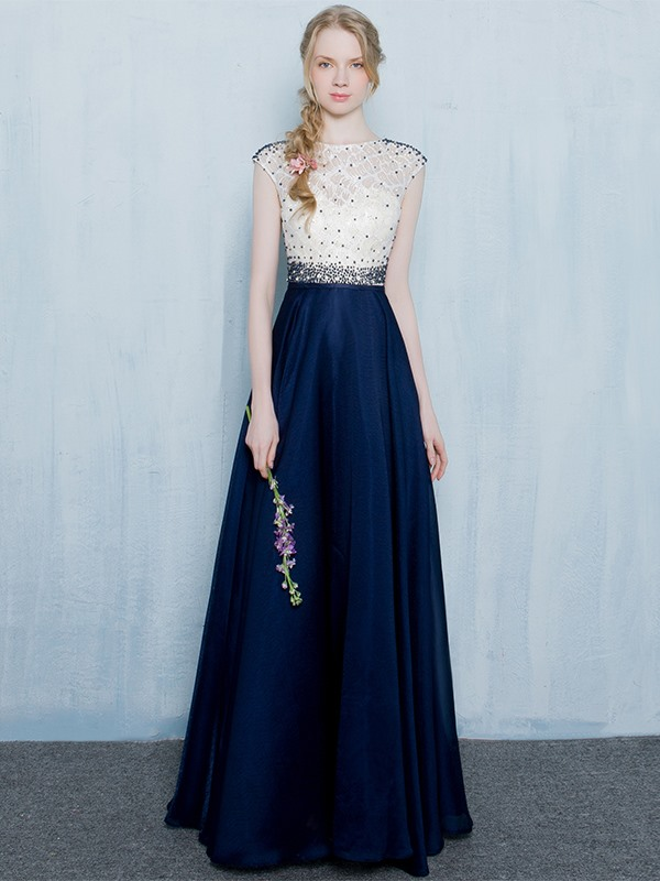 Straps Cap Sleeves Beading Lace Long Evening Dress