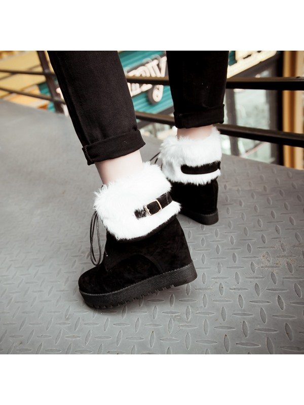 Faux Fur Suede Elevator Heel Lace-Up Booties