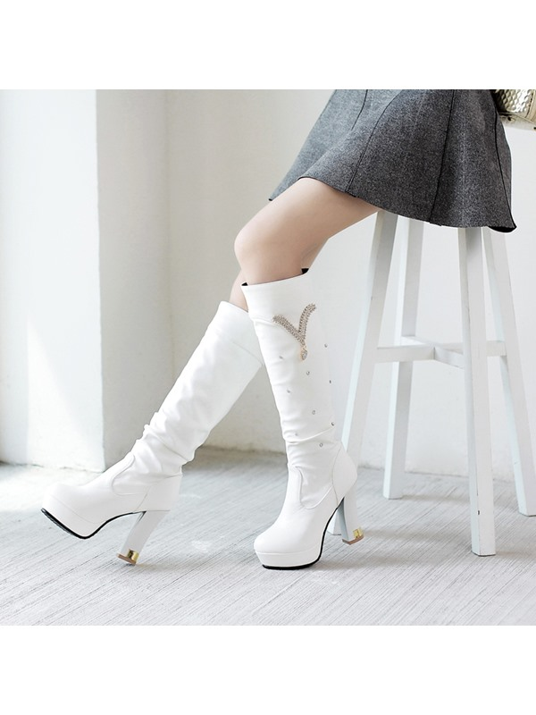 PU Embellished Ruched Platform Knee High Boots