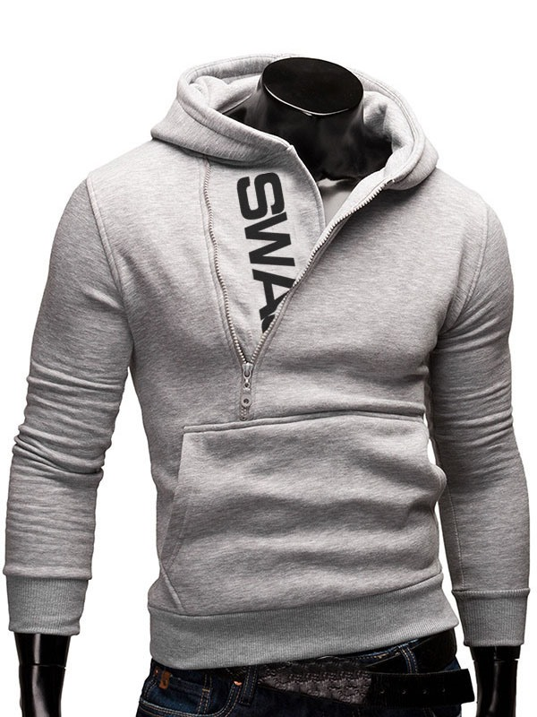 Vogue Oblique Zipper Casual Men's Hoodie