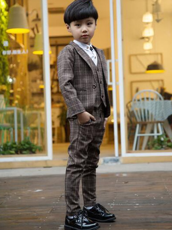 Colored Plaid Pocket Boy's 3-Piece Outfit