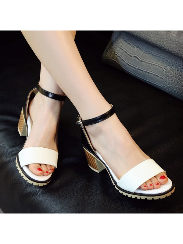 Contrast Color Chunky Heel Ankle Strap Sandals