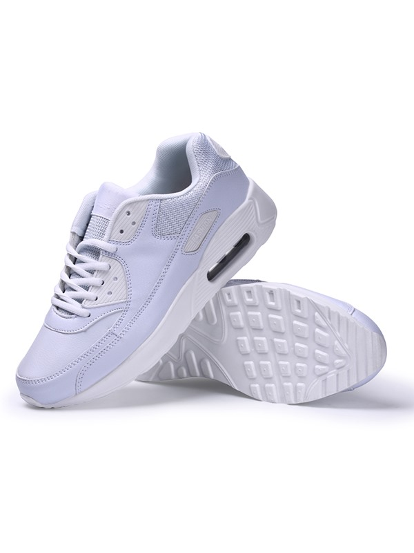 Solid Color PU Lace-Up Sneakers with Air Cushion