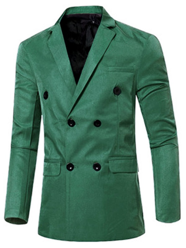 Solid Color Lapel Double Breasted Slim Men's Blazer