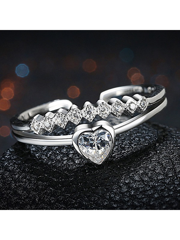 Silver Heart Shaped Opening Ring