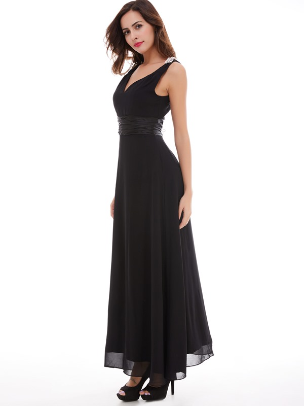 Cheap Straps Crystal A-Line Long Evening Dress