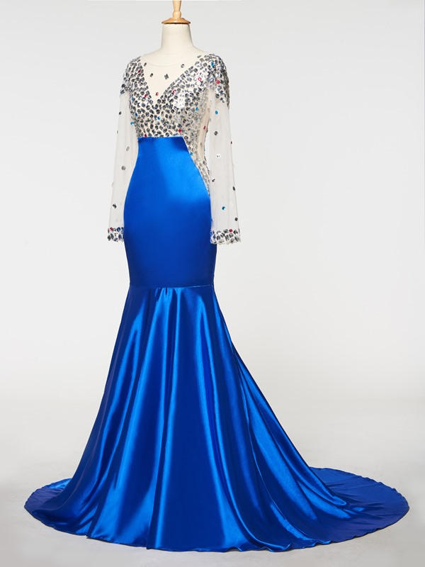 Scoop Long Sleeves Beading Mermaid Evening Dress