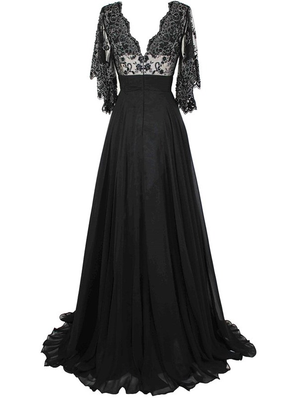 Vintage A-Line V-Neck Appliques Evening Dress