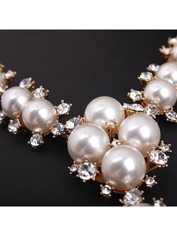 Pearl Rhinestone Design Charming Wedding Jewelry Sets