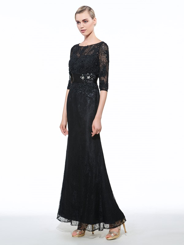 Vintage 3/4 Length Sleeves Beading Lace Evening Dress