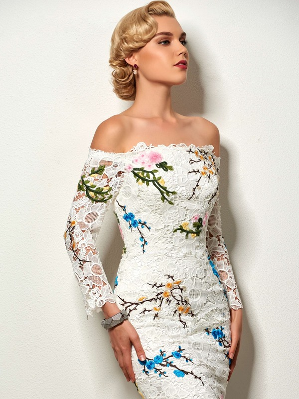 Sheath Off-the-Shoulder Embroidery Lace Cocktail Dress