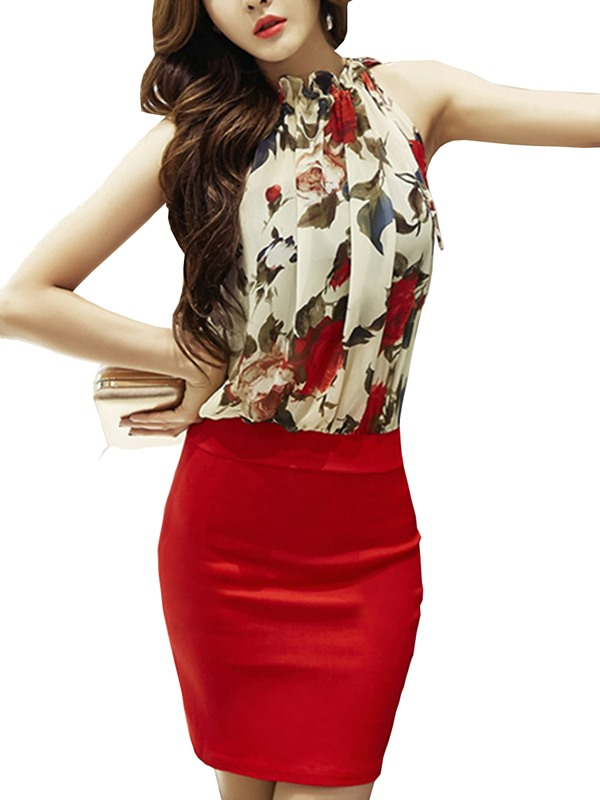 Floral Print Sleeveless Patchwork Bodycon Dress